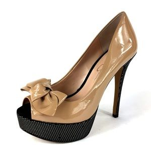 Jessica Simpson Black Tan Patent Heels Sparkle